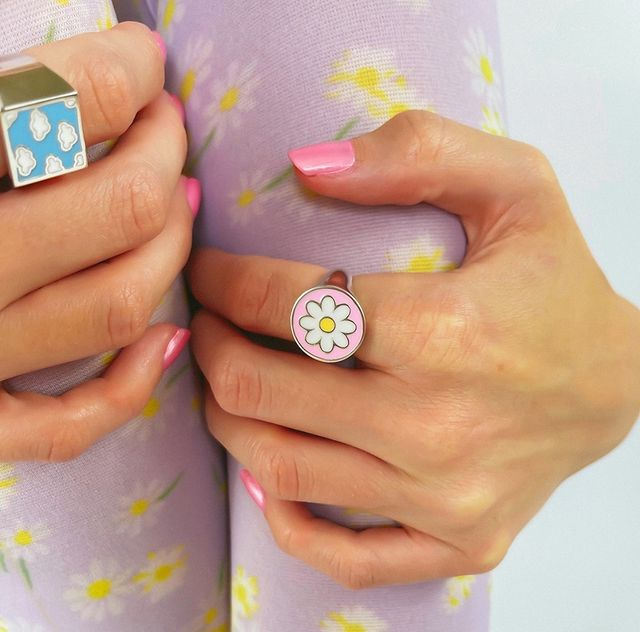 acrylic rings with 90s prints; 17 'chunky' rings you should give a try