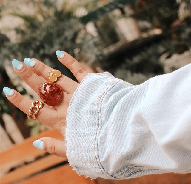acrylic rings with red stones; 17 'chunky' rings you should give a try