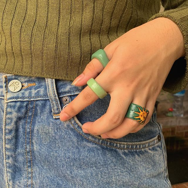 acrylic rings in shades of green; 17 'chunky' rings you should give a try