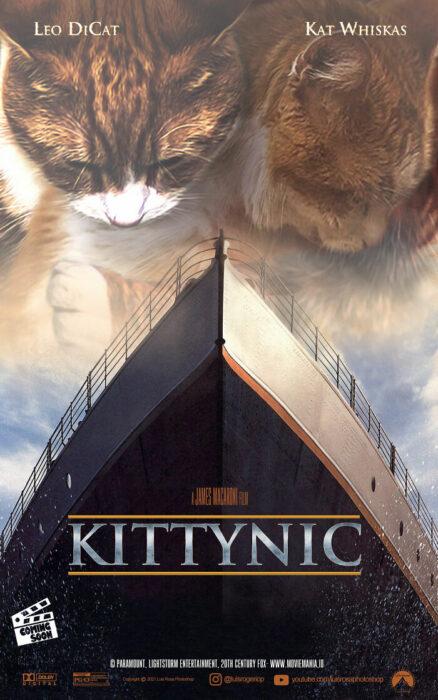 Titanic ;Artista remplaza actores con mininos en posters de películas famosas