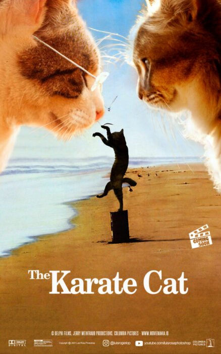 Karate Kid ;Artista remplaza actores con mininos en posters de películas famosas