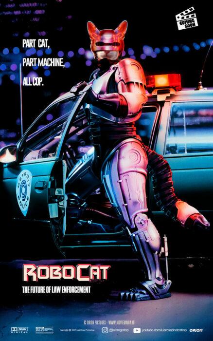 Robocop ;Artista remplaza actores con mininos en posters de películas famosas