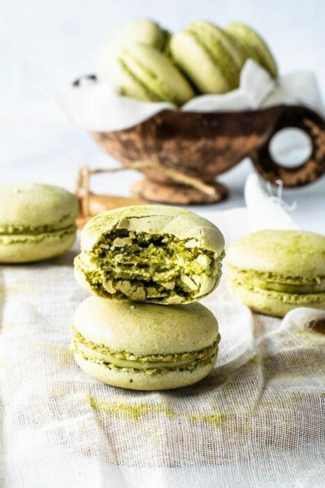 Macarrones crujientes ;Deliciosas recetas de postres con té matcha