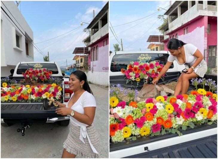 Chica recibiendo un becerro como regalo; Galán le regala un becerro a su novia por su primer aniversario