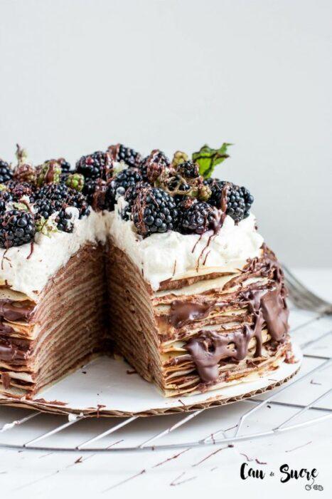 Pastel mil hojas con chocolate ;18 Hermosos pasteles de moras que querrás presumir en Instagram