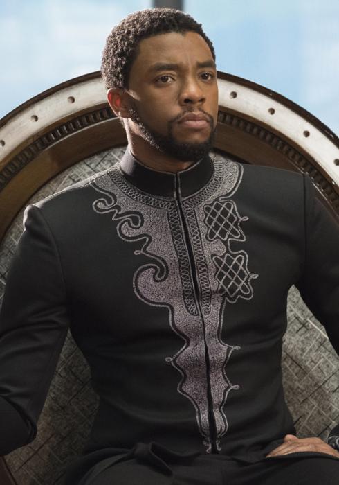 Rey de Wakanda sentado en su trono real