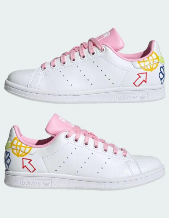 Tenis adidas blancos con detalles rosas