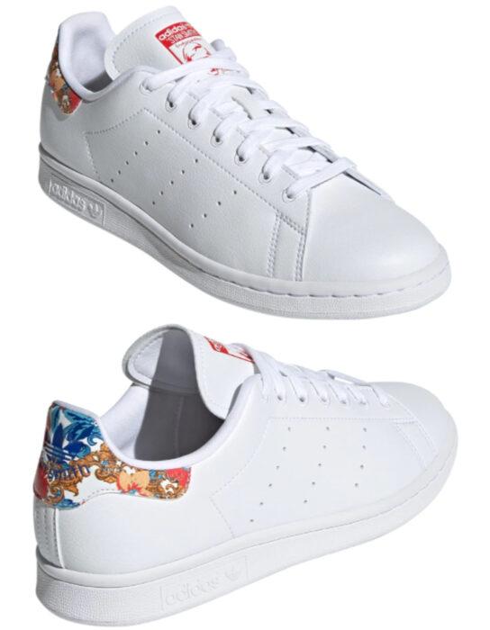 Tenis adidas blancos con detalles florales