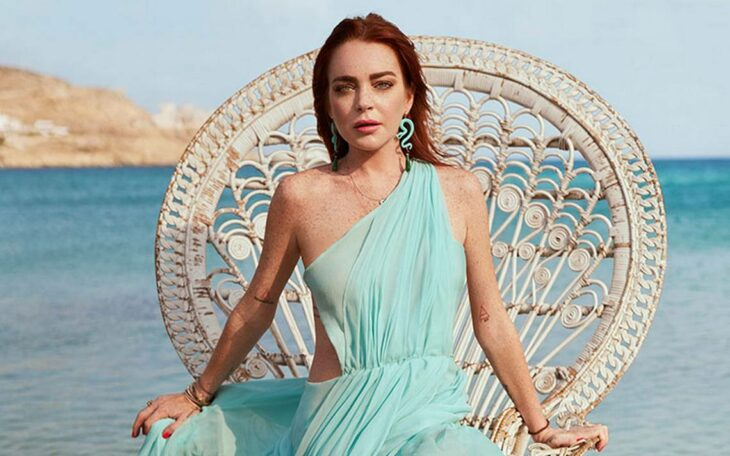 Lindsay Lohan en una sesión de fotos;
