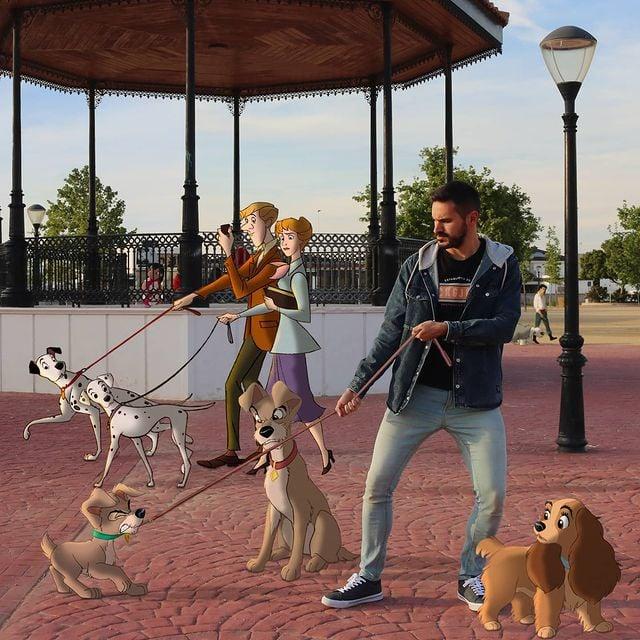 perros disney edición de Samuel MB ;Maestro convierte a personajes Disney en sus roomies y se vuelve viral