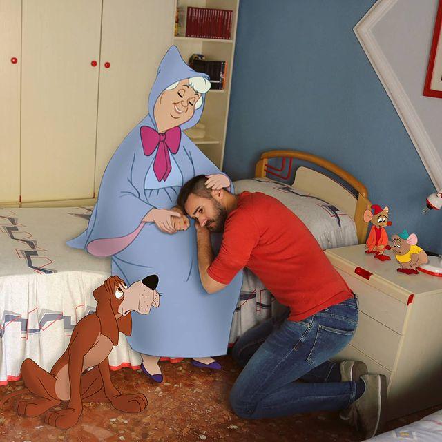 Hada madrina de Cenicienta edición de Samuel MB ;Maestro convierte a personajes Disney en sus roomies y se vuelve viral