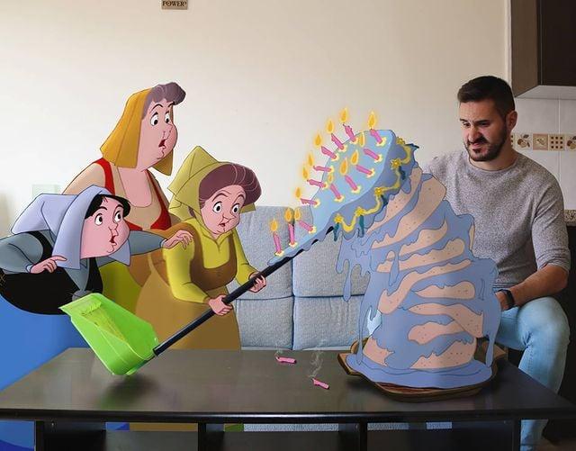 Hadas madrinas de La bella durmiente edición de Samuel MB  ;Maestro convierte a personajes Disney en sus roomies y se vuelve viral