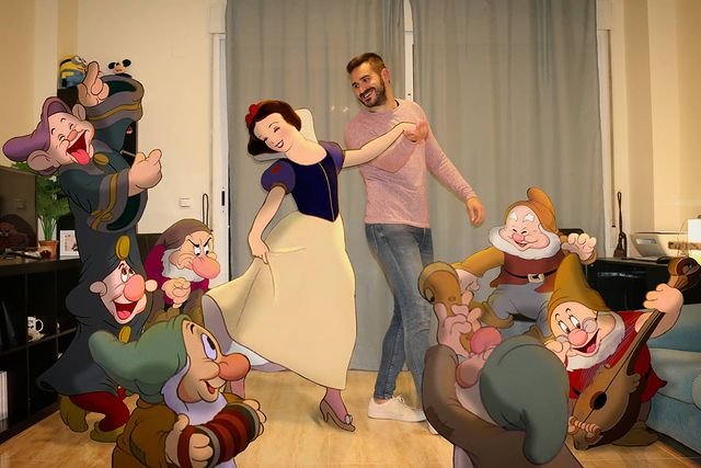 Blancanieves y los siete enanos bailando edición de Samuel MB  ;Maestro convierte a personajes Disney en sus roomies y se vuelve viral
