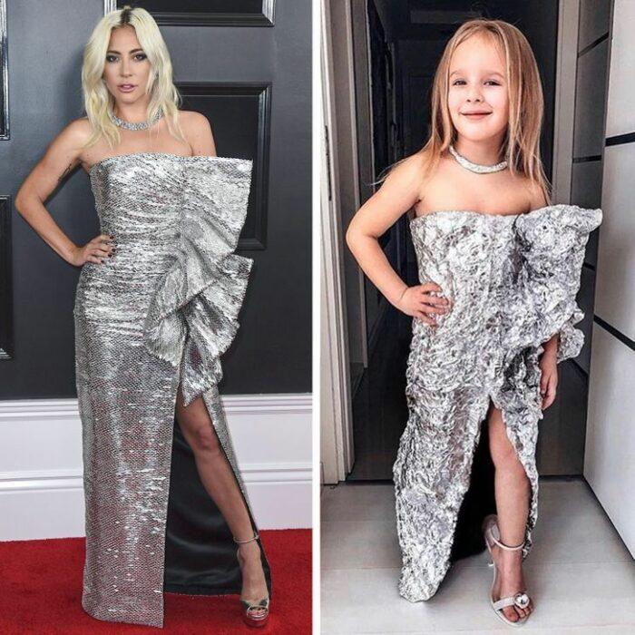 Alya, niña, recreando vestuario de Lady Gaga; Niña de 6 años recrea los mejores looks de alfombra roja de las celebs