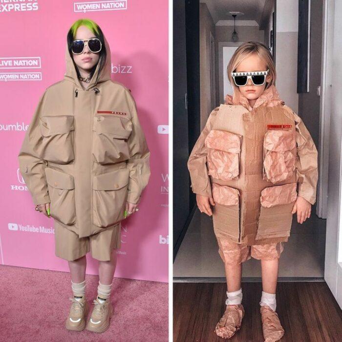 Alya, niña, recreando vestuario de Billie Eilish ; Niña de 6 años recrea los mejores looks de alfombra roja de las celebs