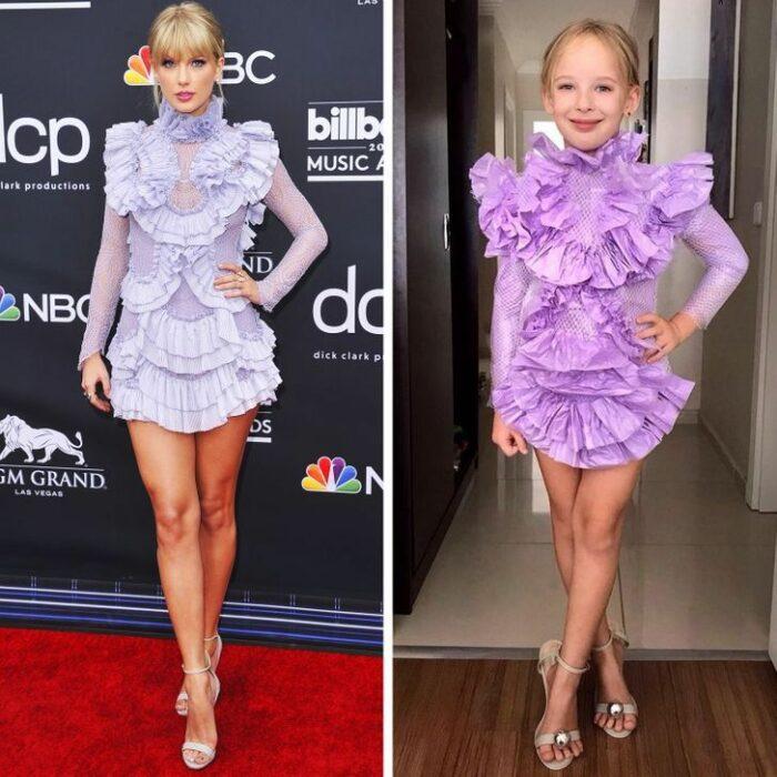 Alya, niña, recreando vestuario de Taylor Swift; Niña de 6 años recrea los mejores looks de alfombra roja de las celebs