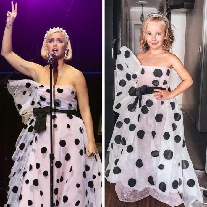 Alya, niña, recreando vestuario de Katy Perry; Niña de 6 años recrea los mejores looks de alfombra roja de las celebs