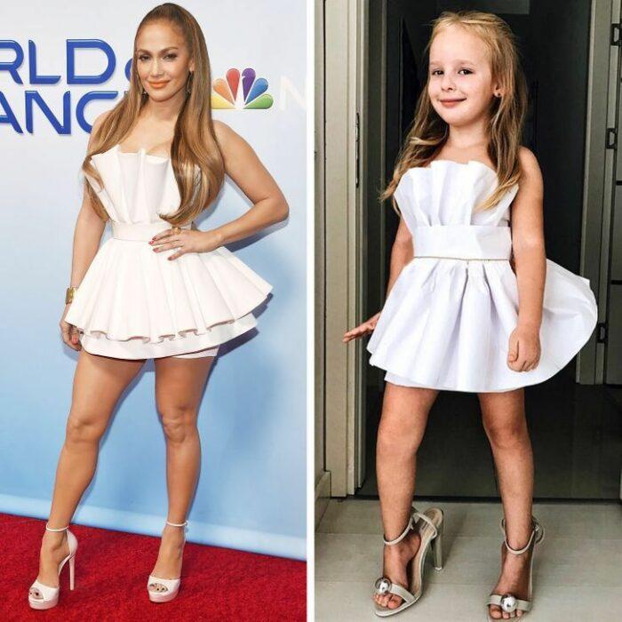 Alya, niña, recreando vestuario de Jennifer Lopez; Niña de 6 años recrea los mejores looks de alfombra roja de las celebs