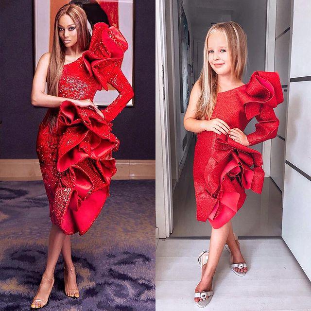 Alya, niña, recreando vestuario de Tyra Banks ; Niña de 6 años recrea los mejores looks de alfombra roja de las celebs