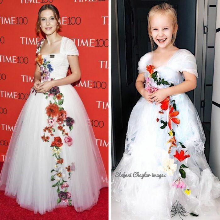 Alya, niña, recreando vestuario de Millie Bobby Brown; Niña de 6 años recrea los mejores looks de alfombra roja de las celebs