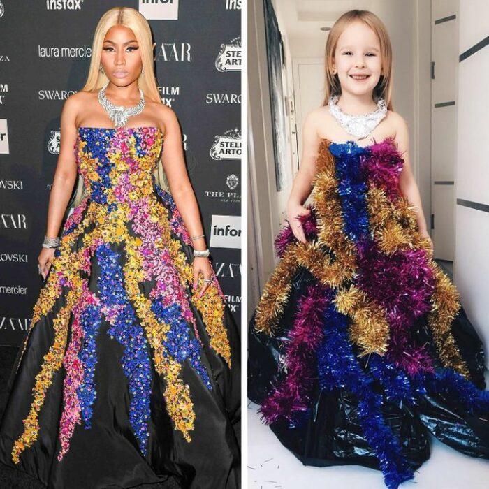 Alya, niña, recreando vestuario de Nicki Minaj; Niña de 6 años recrea los mejores looks de alfombra roja de las celebs