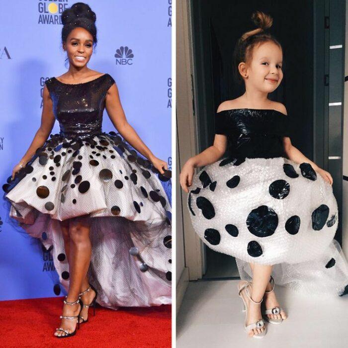 Alya, niña, recreando vestuario de Janelle Monae; Niña de 6 años recrea los mejores looks de alfombra roja de las celebs