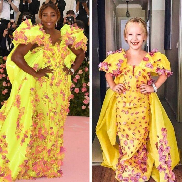 Alya, niña, recreando vestuario de Serena Williams; Niña de 6 años recrea los mejores looks de alfombra roja de las celebs