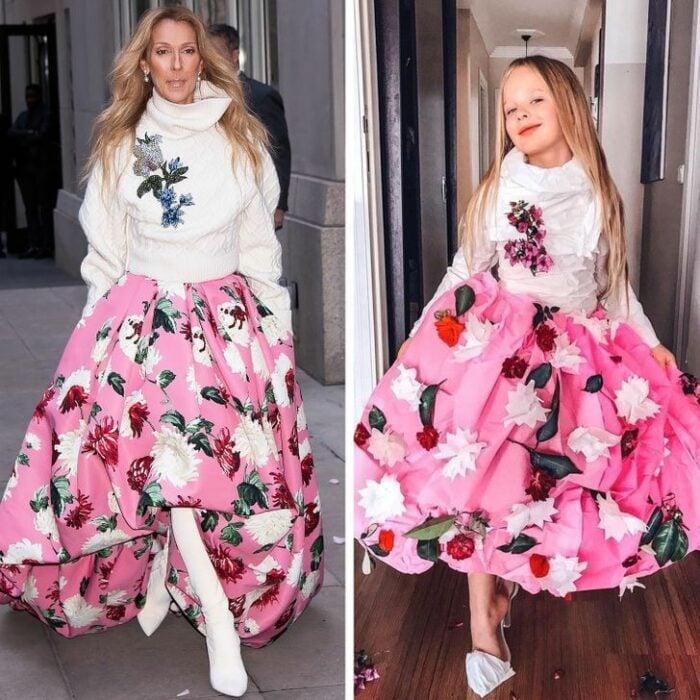Alya, niña, recreando vestuario de Céline Dion; Niña de 6 años recrea los mejores looks de alfombra roja de las celebs