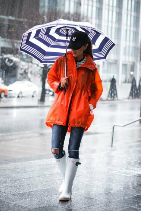 Chica usando un outfit de lluvia con botas, paraguas y chaqueta