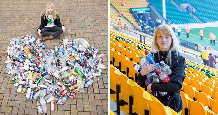 Chica reciclando basura