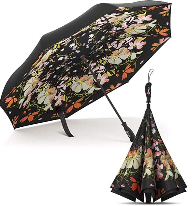 Sombrilla con flores