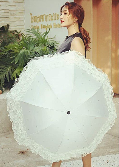 Sombrilla blanca estilo kawaii