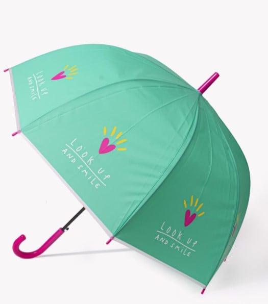Sombrilla en color verde con rosa