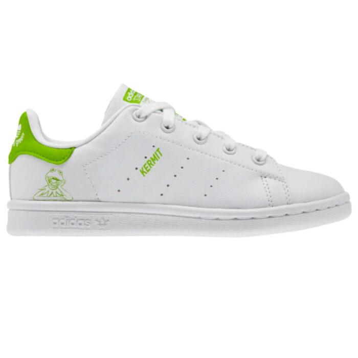 Linea de ropa y calzado de Adidas, Stan Smith Disney; tenis blancos con verde con estampado de la Rana René