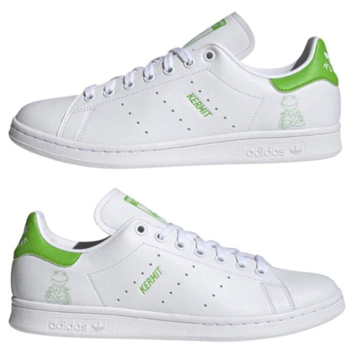 Línea de ropa y calzado de Adidas, Stan Smith Disney; tenis blancos con verde con estampado de la Rana René