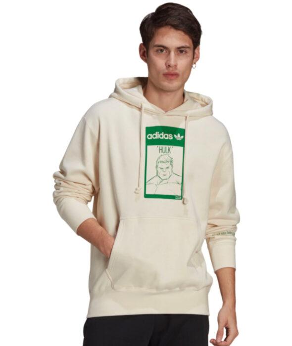 Línea de ropa y calzado de Adidas, Stan Smith Disney; sudadera o hoodie de cuello redondo, con gorro, color hueso y estampado verde de el increíble Hulk de Marvel