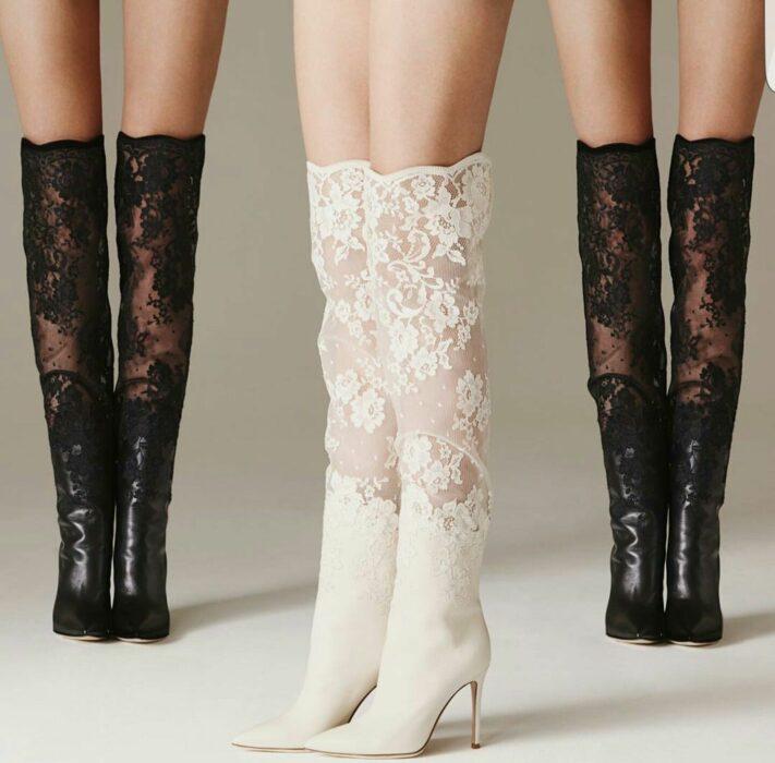 Zapatos de tacón con encaje en color blanco y negro