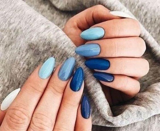 manicura en degradado azul ;16 Manicuras azules para sentir tus dedos entre las nubes