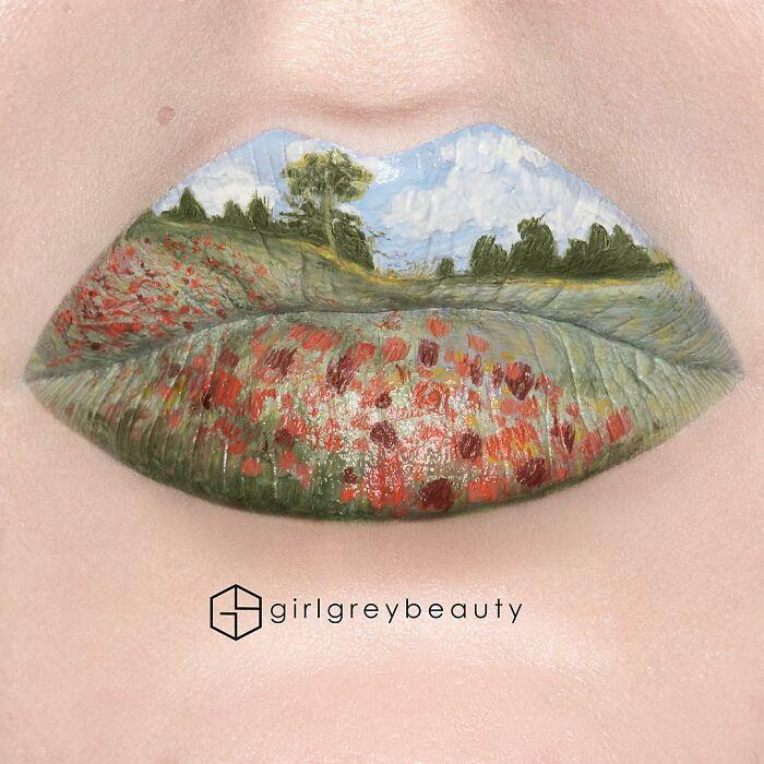 labios con paisaje montañoso, Creación de Andrea Reed; Artista crea hermosas obras de arte sobre sus labios