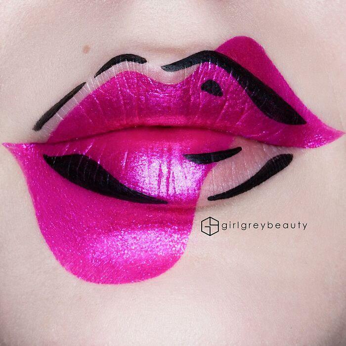 labios en tono fucsia,Creación de Andrea Reed; Artista crea hermosas obras de arte sobre sus labios