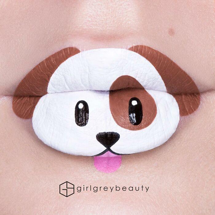 labios con un aperro, Creación de Andrea Reed; Artista crea hermosas obras de arte sobre sus labios