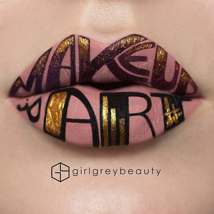 labios con letras, Creación de Andrea Reed; Artista crea hermosas obras de arte sobre sus labios