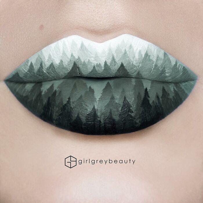 labios con montañas, Creación de Andrea Reed; Artista crea hermosas obras de arte sobre sus labios