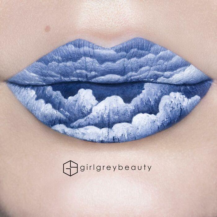 labios con nubes, Creación de Andrea Reed; Artista crea hermosas obras de arte sobre sus labios