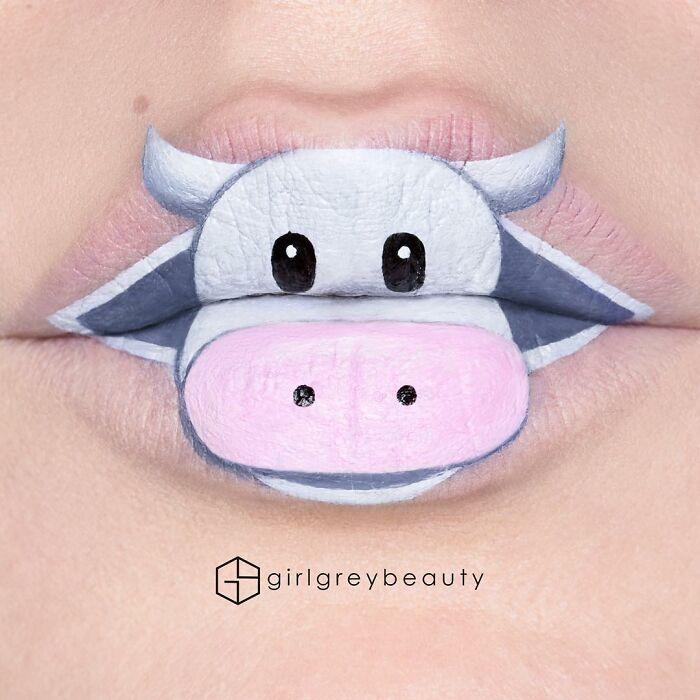 labios con una vaca, Creación de Andrea Reed; Artista crea hermosas obras de arte sobre sus labios