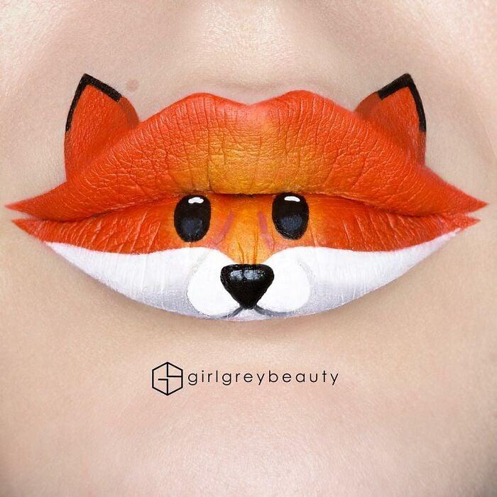 labios en forma de zorros, Creación de Andrea Reed; Artista crea hermosas obras de arte sobre sus labios