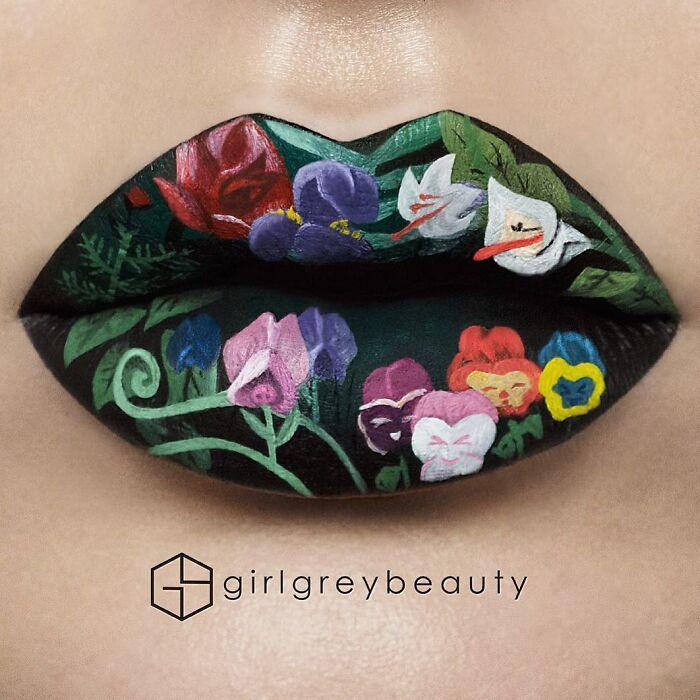 labios con flores, Creación de Andrea Reed; Artista crea hermosas obras de arte sobre sus labios