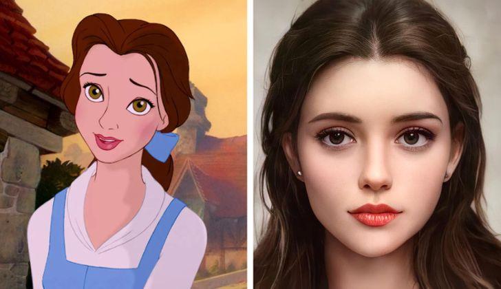 Bella ilustrado con aspecto real por Darky Artists; Artista redibuja a personajes animados como personas y el resultado es chulísimo
