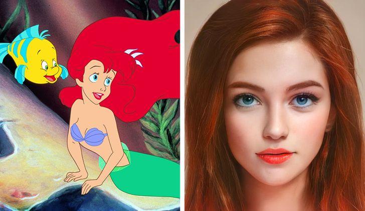 Ariel ilustrado con aspecto real por Darky Artists; Artista redibuja a personajes animados como personas y el resultado es chulísimo