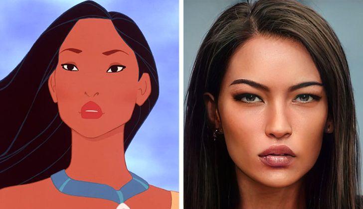 Pocahontas ilustrado con aspecto real por Darky Artists; Artista redibuja a personajes animados como personas y el resultado es chulísimo